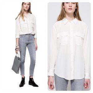 Equipment Nature White Silk Shirt Oversized Fit